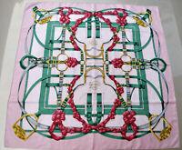 HERMES Vintage GRAND MANEGE Silk Shawl Scarf Wrap Henri d'Origny Pink