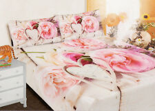 Completo letto matrimoniale rose lenzuolo shabby chic federe cotone 2 piazze