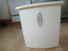 Vintage Rubbermaid Trash Can Waste Basket White Silver Oval Decoration #2933