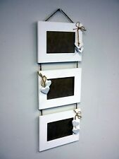 3 Tier Hanging Photo Frame White Hearts Rustic Wooden Driftwood Shabby Chic