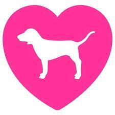 """Pink heart love dog victoria secret vinyl decal sticker 4""""x4"""""""