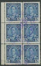 CANADA #214 USED BLOCK OF 6 VF
