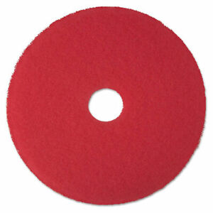 """3M Low-Speed Buffer Floor Pads 5100,17"""" Diameter, Red,Case of 5(New Damaged Box)"""