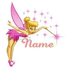 IRON on TRANSFER  PERSONALISED  PINK TINKERBELL 12x13cm (any first name u want)