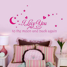 Pink I Love You To The Moon And Back Letter decal Sticker Baby Kids Boys Room