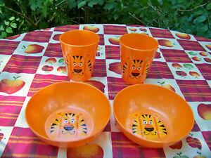 2 Jungle Animal Juice Glasses Tumblers - 2 Jungle Animal Plates Kids, Children
