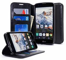 For LG K7 Tribute 5 Flip Wallet Leather Case Protective Cover Pouch Folio BLACK