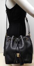Dooney & Bourke Kendall Black Genuine Leather Drawstring Shoulder Bag Handbag