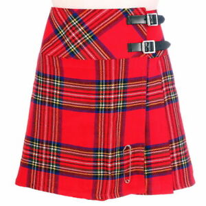 Scottish Ladies Mini Royal Stewart Tartan Kilt/Women Skirt 16'' long + Kilt pin