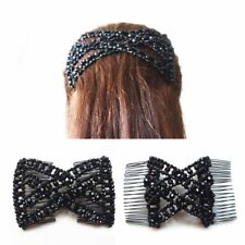 Women Girl Easy Butterfly Hair Clip Comb Stretchy Bead Double Hair Accessories