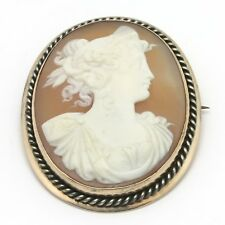 """Antique Victorian 10K Solid Gold Carved Shell Cameo Brooch Pin 1.5"""" x 1.25"""" 9.1g"""