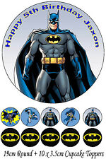 Personalised 19cm Round + 10x 3.5cm Batman Edible WAFER Cake Topper
