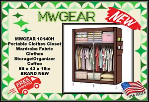 MWGEAR 10140H Portable Clothes Closet Wardrobe- COFFEE COLOR-69 x 43 x 18in NEW