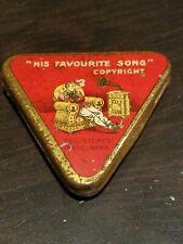 "Rare gramophone phonograph needle tin nadeldose ""his favorite song"" triangle"