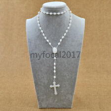 Prayer Glow in Dark Beads Rosary Necklace Cross Crucifix Pendant Jewellery Gifts