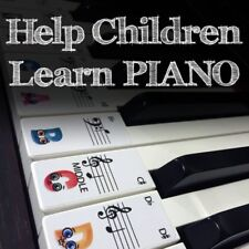 CHILDRENS Keyboard / Piano Stickers up to 61 KEYS best way to learn Piano 4 Kids