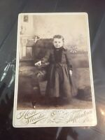 Cabinet Card Photo Little Girl Child next to an Armchair Antique Late 1800s