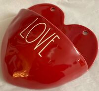 """NEW! Rae Dunn Heart Shaped VALENTINE Red Wall pocket planter """"LOVE"""" New 2019!!"""