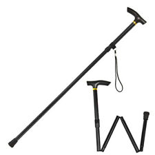"Foldable Adjustable Folding Height Light Weight Walking Stick Cane 33""-37"" BLACK"