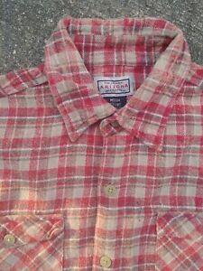 Arizona Jean Co Boys Flannel Plaid L/S Shirt Red/Brown - 10/12 Medium Nice