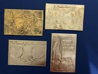 4 Novelty Postcards w Copper METAL fronts. For Collectors. Nice w Value