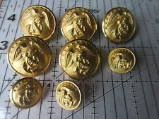 8 Vintage Gold metal buttons Eagle & Stars Waterbury Co. Inc. Connecticut