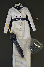Franklin Mint Doll Titanic Rose Blue And White Stripe Boarding Suit Ensemble 16""