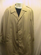 Mens Towncraft Fall Winter Khaki Trench Coat Removable Plush Lining Size 42 Long