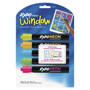 EXPO Low Odor Non-Toxic Dry Erase Marker, Bullet Tip, Assorted Neon, Set of 5