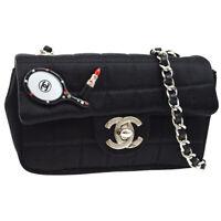 CHANEL Choco Bar Cosmetic Icon Single Chain Bag Black Satin 9263178 G03393j