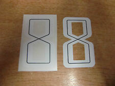 2x GUY MARTIN race number 8 - White & Black Stickers / Decals  - 65mm