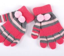 Cotton Knitted Winter Gloves Striped Pattern With Pom Poms Design For Baby Girls
