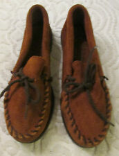 Womens Brown Leather Shoes Size 3 Minnetonka Moccasins  made in the USA