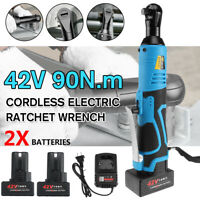 3/8'' 42V Electric Cordless Ratchet Right Angle LED Wrench Impact + 2 Battery
