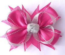 Silver & Black, Hot Pink, Frozen Ice Blue Satin Ribbon Hair Bow Alligator Clip