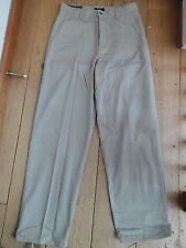 DOCKERS CLASSIC FLAT FRONT RELAXED CHINO TROUSERS STONE BEIGE 30 W 32 L  BNWT!