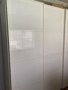 IKEA Pax wardrobe white glass sliding doors