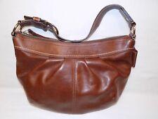 Coach Brown Leather Handbag Purse Hang Tag Hobo Shoulder Bag F13730 Pleated Dark
