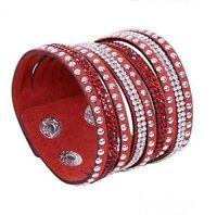 Bracelet Pour Femme Fille Manchette Multi-Rangs Strass Rouge Tendance Mode Chic