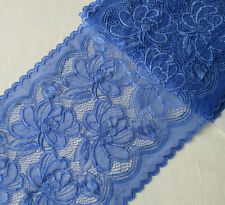 "3.3 Yards 9"" Wide Stretch Blue Lace with Silver Metallic 381"