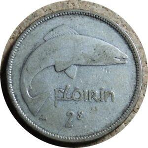 elf Ireland Florin 1935 Salmon Fish  Silver