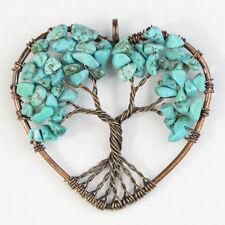 Turquoise Howlite Chips Tree of Life Reiki Chakra Healing Copper Heart Pendant
