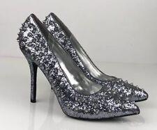 Steve Madden Spike Stud Silver Glitter stiletto heel sexy glam size 6 39