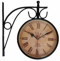 Station Wall Clock Victoria Double Sided Analog Vintage Desige 1747 London 8 inc