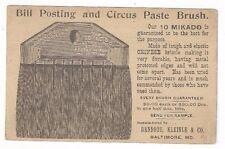 1896 UX12 Baltimore MD Advertising Bill Posting & Circus Paint Brush
