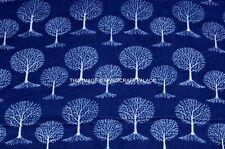 Mano Bloque Estampado Indio Tela de Algodón Anokhi Indigo Azul Árbol 2.7m Para