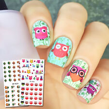 2 Sheets BORN PRETTY Water Decal Colorful Owl Nail Art Transfer Stickers Tattoo