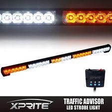 """31"""" 30 LED Traffic Advisor Emergency Flash Strobe Light Bar Kit White Amber"""