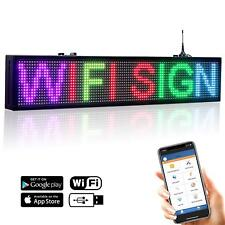 """30""""x6"""" 7 Color LED Open Sign WiFi Programmable Scrolling Message Display Board"""