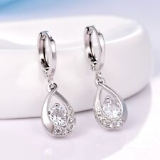 Promise White Gold Filled Womens Chic Cheap Topaz Drop Dangle Leverback Earrings